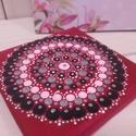 Mini mandala pink-ezüst pink alapon, Dekoráció, Képzőművészet, Kép, Festmény, Festett tárgyak, Festészet, Pontfestő technikával készült mini mandala festmény. 12X12cm, Meska