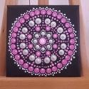 Mini mandala pink-ezüst fekete alapon, Dekoráció, Képzőművészet, Kép, Festmény, Festett tárgyak, Festészet, Pontfestő technikával készült mini mandala festmény. 12X12cm, Meska