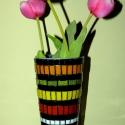REKREDENC - Csíkos virágváza, Dekoráció, Otthon, lakberendezés, Kaspó, virágtartó, váza, korsó, cserép, Üvegművészet, Mozaik, Mozaik dekorációval készült, 27 cm magas virágváza., Meska