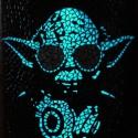 """REKREDENC - """"DJ Yoda"""" - fluoreszkáló mozaik kép, Dekoráció, Otthon, lakberendezés, Kép, Falikép, Üvegművészet, Mozaik, Üveglapra, fluoreszkáló üvegmozaikból készített falikép. A minta- miután megszívta magát fénnyel -,..., Meska"""