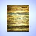 """""""Storm""""  akril festmény, falikép, Dekoráció, Képzőművészet, Kép, Festmény, Festészet, 30x25 cm akril festmény  arany, türkiz, bronz és zöld árnyalataiban. A fényviszonyoktól függően más..., Meska"""