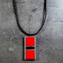 Mozaik medál  - piros/fekete  INGYEN POSTA!, Ékszer, Dekoráció, Medál, Kézzel készült, pop art stílusú mozaik medál égő piros és fekete mozaikkal, fekete velúr z..., Meska
