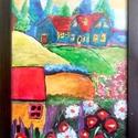 Gyerekkori álom, Képzőművészet, Festmény, Akril, Festészet, A kép akrilfestékkel készült A/4-es méretben (210*297mm). Egy színes tájképet ábrázol házakkal és s..., Meska