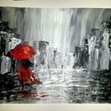 Lány az esőben, Képzőművészet, Festmény, Akril, Festészet, 297*420 mm technika: akril  keret nélküli ár absztrakt festmény , Meska