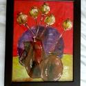 Színes-élénk csendélet , Képzőművészet, Festmény, Akril, Festészet, 297*420 cm méretű színes, élénk virágos kép fakeretben. KERETTEL EGYÜTT kedvező áron eladó, Meska