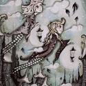 Lámpás, Dekoráció, Képzőművészet, Kép, Festmény, 30x40 cm-es egyedi, farostlemezre készült akril festmény., Meska