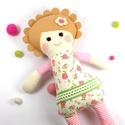 Kislány Baba,  Játékbaba, Textilbaba, Rongybaba, Textil Játék- Rózsaszín Zöld Virágos Bella, Játék, Baba játék, Baba, babaház, Plüssállat, rongyjáték, Újrahasznosított alapanyagból készült termékek, Varrás, Bella baba 100% termeszetes eredetű alapanyagokból készült.   Ez a szépséges kislány  baba kedves b..., Meska