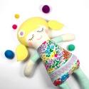 Kislány Baba,  Játékbaba, Textilbaba, Rongybaba, Textil Játék- Rózsaszín Sárga Csíkos  Bella, Játék, Baba játék, Baba, babaház, Plüssállat, rongyjáték, Újrahasznosított alapanyagból készült termékek, Varrás, Bella baba 100% termeszetes eredetű alapanyagokból készült.   Ez a szépséges kislány  baba kedves b..., Meska