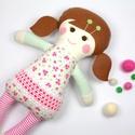Kislány Baba,  Játékbaba, Textilbaba, Rongybaba, Textil Játék- Rózsaszín Kék Virágos Bella, Játék, Baba játék, Baba, babaház, Plüssállat, rongyjáték, Újrahasznosított alapanyagból készült termékek, Varrás, Bella baba 100% termeszetes eredetű alapanyagokból készült.   Ez a szépséges kislány  baba kedves b..., Meska