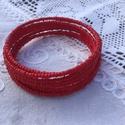 Piros memória, Ékszer, óra, Karkötő, Piros memória karkötő! Picike, 2 mm-es gyöngyökből fűzött karkötő, kb. 8 soros. Pirosas, d..., Meska