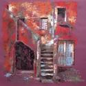 Lépcső, Képzőművészet, Festmény, Pasztell, Festészet, Fotó, grafika, rajz, illusztráció, 50x50 cm széles, antikolt, dupla keretben, csillogásmentes üveggel, Meska