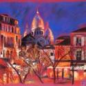 Párizsi utca, Képzőművészet, Festmény, Pasztell, Festészet, Fotó, grafika, rajz, illusztráció, 50x65 cm széles, antikolt, dupla keretben, csillogásmentes üveggel, Meska