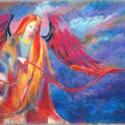 Angyal, Képzőművészet, Festmény, Pasztell, Illusztráció, Festészet, Fotó, grafika, rajz, illusztráció, 50x65 cm, Meska