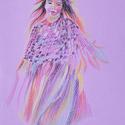 Kislány lila alapon, Dekoráció, Képzőművészet, Grafika, Rajz, Fotó, grafika, rajz, illusztráció, pasztell rajz 21x30 cm, Meska