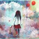 Kislány lufikkal, Képzőművészet, Dekoráció, Festmény, Pasztell, Festészet, Fotó, grafika, rajz, illusztráció, pasztell festmény 65x50 cm, Meska