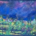 Vihar előtt, Képzőművészet, Dekoráció, Festmény, Pasztell, pasztell festmény 65x50 cm, Meska