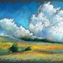 POLCSEPRÉS:) Tanulmány - dombok 1., Képzőművészet, Dekoráció, Grafika, Rajz, Fotó, grafika, rajz, illusztráció, Festészet, pasztell rajz 30x21 cm, Meska
