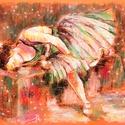 Táncoslány , Képzőművészet, Dekoráció, Grafika, Rajz, pasztell rajz 50x40 cm fotó alapján, Meska
