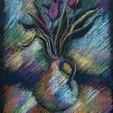 Polcseprés:) Kis váza, Képzőművészet, Dekoráció, Grafika, Rajz, Festészet, Fotó, grafika, rajz, illusztráció, pasztell rajz 21x30 cm tanulmány, Meska
