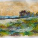 Kis táj - tanulmány, Képzőművészet, Dekoráció, Festmény, Pasztell, Festészet, Fotó, grafika, rajz, illusztráció, pasztell festmény 30x21 cm (az eget csak arany festékkel festettem, így a valóságban szépen fénylik..., Meska