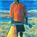 POLCSEPRÉS:) - Színtanulmány -  piros ing, Képzőművészet, Dekoráció, Festmény, Pasztell, Festészet, Fotó, grafika, rajz, illusztráció, pasztell festmény 21x30 cm, Meska