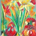Tanulmány - nárciszok és almák, Képzőművészet, Dekoráció, Festmény, Pasztell, Festészet, Fotó, grafika, rajz, illusztráció, pasztell festmény 21x30 cm, Meska
