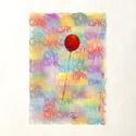 Csak egy piros lufi:), Képzőművészet, Dekoráció, Grafika, Rajz, Festészet, Fotó, grafika, rajz, illusztráció, pasztell rajz 21x30 cm, Meska