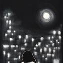 Hold, Képzőművészet, Dekoráció, Festmény, Pasztell, Festészet, Fotó, grafika, rajz, illusztráció, pasztell festmény 21x30 cm, Meska