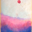 Rózsaszín part, Képzőművészet, Dekoráció, Festmény, Pasztell, Festészet, Fotó, grafika, rajz, illusztráció, pasztell festmény 21x30cm, Meska