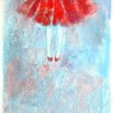 Piros szoknya, Képzőművészet, Dekoráció, Festmény, Pasztell, Festészet, Fotó, grafika, rajz, illusztráció, pasztell festmény 21x30 cm, Meska
