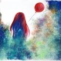 Lány lufival, Képzőművészet, Dekoráció, Festmény, Pasztell, Festészet, Fotó, grafika, rajz, illusztráció, pasztell festmény 40x30 cm, Meska