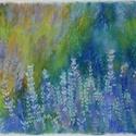 Levendula kert, Képzőművészet, Dekoráció, Festmény, Pasztell, Festészet, Fotó, grafika, rajz, illusztráció, pasztell festmény 30x21 cm, Meska