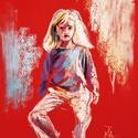 Kislány, Képzőművészet, Dekoráció, Festmény, Pasztell, Festészet, Fotó, grafika, rajz, illusztráció, pasztell festmény 21x30 cm, Meska