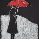 Piros esernyő, Képzőművészet, Dekoráció, Grafika, Rajz, Festészet, Fotó, grafika, rajz, illusztráció, pasztell rajz 30x21 cm, Meska