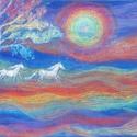 Polcseprés:) - Fehér lovak, Képzőművészet, Dekoráció, Festmény, Pasztell, Festészet, Fotó, grafika, rajz, illusztráció, pasztell festmény 40x50 cm, Meska