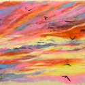 Polcseprés:) - Naplemente, Képzőművészet, Dekoráció, Festmény, Pasztell, Festészet, Fotó, grafika, rajz, illusztráció, pasztell festmény 33x23 cm, Meska