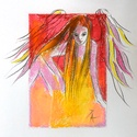 Angyalka, Képzőművészet, Dekoráció, Grafika, Rajz, Festészet, Fotó, grafika, rajz, illusztráció, pasztell rajz 21x30 cm, Meska
