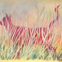 Macska fűben, Képzőművészet, Dekoráció, Festmény, Pasztell, pasztell festmény 40x30 cm, Meska