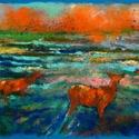 Őzek, Képzőművészet, Dekoráció, Festmény, Pasztell, Festészet, Fotó, grafika, rajz, illusztráció, pasztell festmény 30x21 cm, Meska