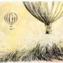 Hőlégballonok, Képzőművészet, Dekoráció, Grafika, Rajz, Festészet, Fotó, grafika, rajz, illusztráció, pasztell rajz 30x21 cm, Meska