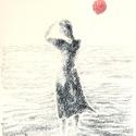 Lány lufival, Képzőművészet, Dekoráció, Grafika, Rajz, Festészet, Fotó, grafika, rajz, illusztráció, pasztell rajz 30x21 cm, Meska