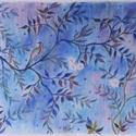 POLCSEPRÉS:) Madár kékben, Képzőművészet, Dekoráció, Festmény, Pasztell, pasztell festmény 30x42 cm egy minta alapján, Meska