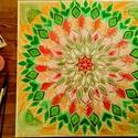 Mandala, Képzőművészet, Dekoráció, Festmény, Akril, festmény 60x60 cm akril festék feszített vásznon A kép keretezés nélkül kirakható. A képen..., Meska