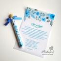 Kémcsöves esküvői meghívó-'Kék akvarell virágok'
