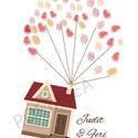 Esküvői ujjlenyomat kép 'Piros házikó', Esküvő, Képzőművészet, Esküvői dekoráció, Meghívó, ültetőkártya, köszönőajándék, Nagyon divatos mostanság a klasszikus vendégkönyv helyett alternatív megoldásokat alkalmazni. I..., Meska