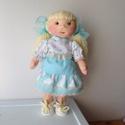 """Lizácska, Játék, Baba, babaház, Plüssállat, rongyjáték, Szerettem volna egy """"kék"""" szemű babát is csinálni. Lizácska 35 cm magas. Haja kötőfonalból csomózva ..., Meska"""