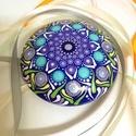 Türkiz-kék mandalakő, Otthon & lakás, Dekoráció, Lakberendezés, Asztaldísz, Ez a mandalakő hobbibetonból készült, laposgömb alakú, 8 cm átmérőjű és egyedi mandala mintával rend..., Meska