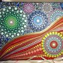 """""""Univerzum"""" mandala lenvászon kép, Otthon & lakás, Dekoráció, Képzőművészet, Lakberendezés, Ezen a nagyszabású mandala képen a szivárvány összes színe jelen van, az Univerzumot megidézve sok-s..., Meska"""