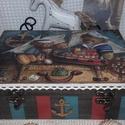 tengerészes mackós doboz, Baba-mama-gyerek, Otthon, lakberendezés, Tárolóeszköz, Doboz, Decoupage, transzfer és szalvétatechnika, Festett tárgyak, Mérete: 23 cm. x 16 cm. x 6,5 cm. Alapanyaga fa.  A posta költségébe, még két doboz belefér., Meska