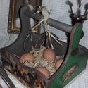 kakasos húsvéti kosár, Otthon, lakberendezés, Dekoráció, Tárolóeszköz, Doboz, A doboz mérete: 20 cm. x 20 cm. x 20 cm.   Alapanyaga: fa. A posta költsége, ajánlottan: 1320 Ft. ( ..., Meska